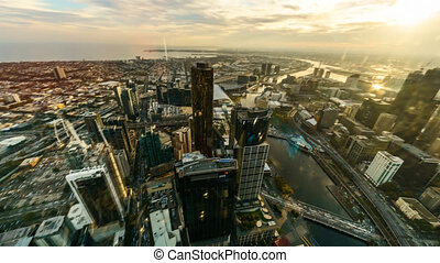 Sunset Aerial view of Melbourne Cityscape, Time lapse brush stroke effect