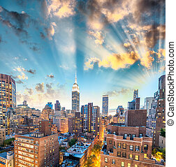 Sunset aerial view of Midtown Manhattan, New York CIty