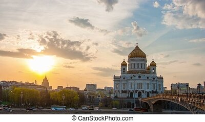 Sunset against the Cathedral of Christ the Saviour, Moscow, Russia, timelapse