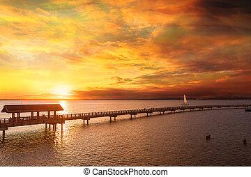 Golden sunset along Boulevaard Park in Bellingham Bay Washington