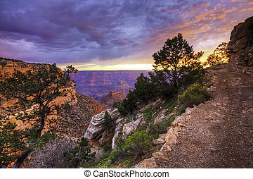 Sunset along Grand Canyon trail