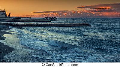 Sunset along the coast of the Black Sea