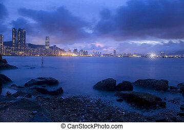 Sunset along the ocean in Hong Kong