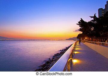 Sunset along the seashore in Hong Kong