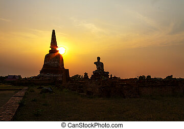 Sunset ancient pagoda