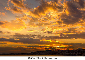 Sunset and clouds over the ocean