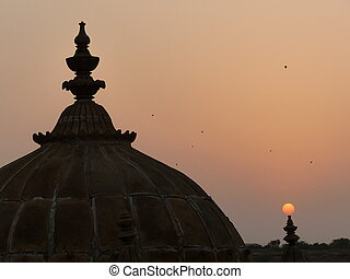 Sunset and domes