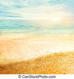 Sunset and fine sand - Beach summer background with fine ...