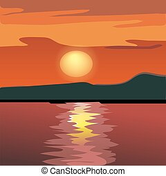 Sunset and mountain silhouette from the sea. Vector ...