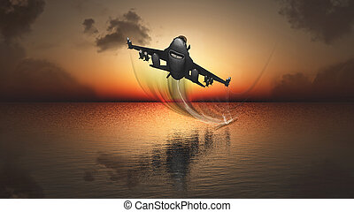 sunset and plane - Tropical landscape with 3D warplane