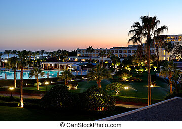 Sunset and recreation area of the luxury hotel, Sharm el Sheikh, Egypt