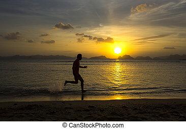 sunset and runner