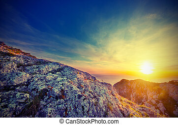 Sunset and sea in the Crimean mountains