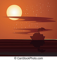 Sunset and ship