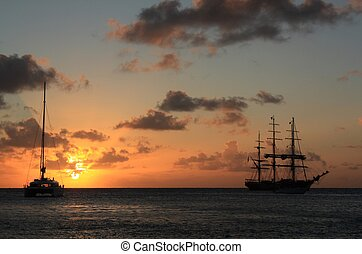Sunset and silhouett of the ship