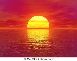 sunset and sky,sky and sun,sea and sunset