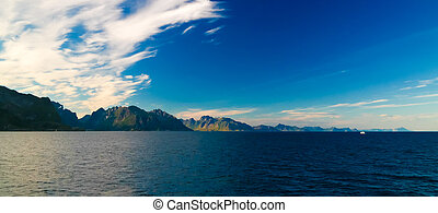 Sunset and sunrise over the sea and Lofoten archipelfgo from the Moskenes - Bodo ferry, Norway