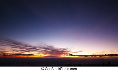 Sunset and the Milky Way over Sicily. Time Lapse