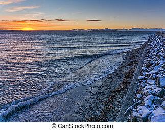 Sunset And West Seattle Shoreline