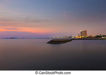 Sunset at a beach in Pattaya, Thailand