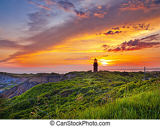 sunset at a lighthouse