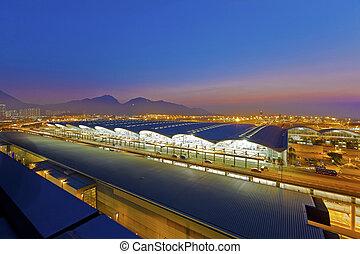 Sunset at airport terminal
