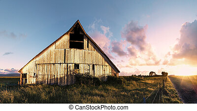 Sunset at an Abandoned Barn, Color Image