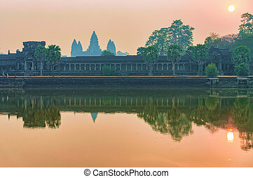 Sunset at Angkor Wat temple complex Siem Reap Cambodia