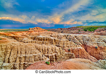 Sunset at Badlands National Park, South Dakota.