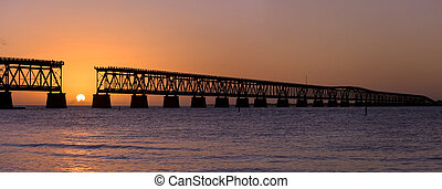 Sunset at Bahia Honda park, Florida - Beautiful colorful...