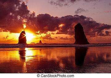 Sunset at Cannon Beach Oregon