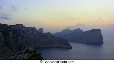 Sunset at Cap de Formentor, Mallorca, Spain. Beautiful cliffs and the Sea view shot in 4k slow motion.