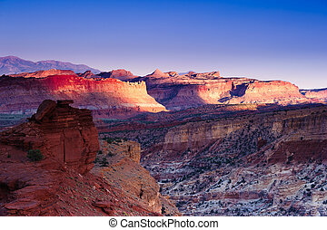 Sunset at Capitol Reef national park, Utah, USA