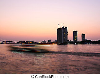 Sunset at Chao Phraya river
