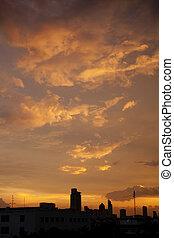 Sunset at city of Bangkok, Thailand