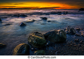 """Sunset at """"Clothes Optional"""" Wreck Beach in Canada"""