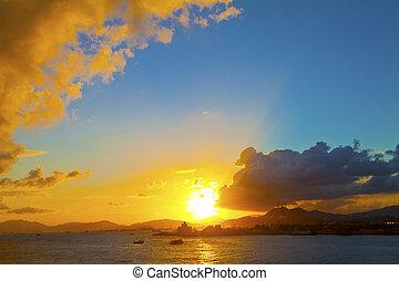 Sunset at coast in Hong Kong