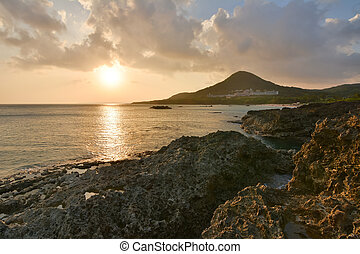 Sunset at Coral coast line - Sunset. Coral coast line at...