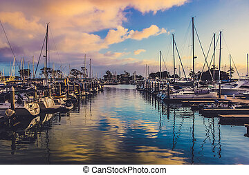 Sunset at Dana Point Harbor - Colorful sunset with clouds...