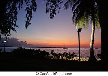 Sunset over water in Darwin, Northern Territory, Australia