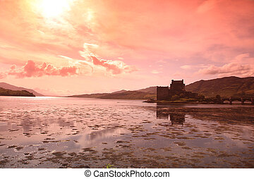 Sunset at Eilean Donan Castle in Scotland, UK