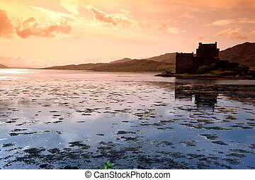 Sunset at Eilean Donan Castle in Scotland, UK