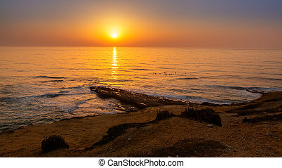sunset at Ericeira village, Portugal. - surfers in Pedra ...