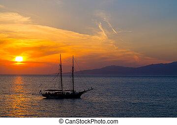 Sunset at famous Mykonos island, Greece