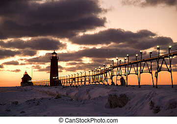 Sunset at Grand Haven Lighthouse - Sunset Over Grand Haven...