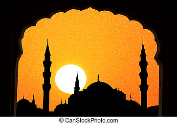 sunset at halga sophia blue mosque turkey with islamic...