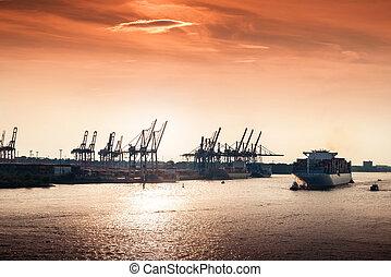 Sunset at Hamburg harbor