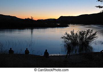 Sunset at Hippo Pools, Namibia