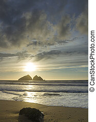 sunset at holywell bay, newquay UK - beautiful sunset at...