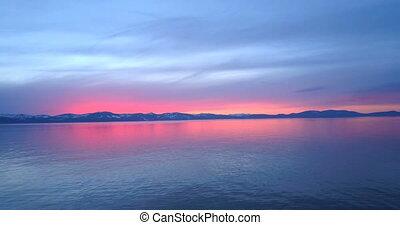 Sunset at Lake Tahoe - The sunset at Lake Tahoe, mountains...